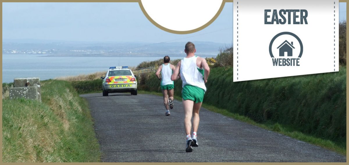 Run Ballybunion button image: two runners running behind Garda car on country road
